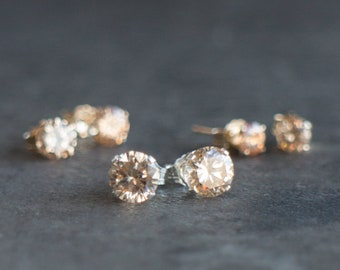 CZ Champagne Stud Earrings