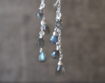 Long Labradorite Dangle Earrings