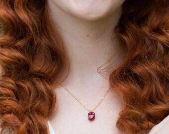 Raw Ruby Necklace - July Birthstone