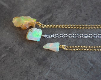 Raw Fire Opal Necklace - October Birthstone