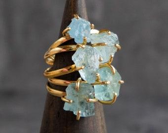 Raw Aquamarine Ring, Raw Birthstone Rings in Sterling Silver & Gold, Raw Gem Ring, Raw Crystal Ring, March Birthstone, Gift for Women