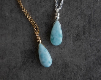 Larimar Necklace Gift for Wife, Natural Larimar Stone Teardrop Pendant Necklace in Sterling Silver & Rose Gold, Larimar Jewelry