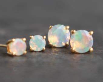 Opal Stud Earrings, Genuine Opal Earrings Studs, Birthstone Jewelry, Rose Gold Opal Earrings, Fire Opal Earrings, Silver Opal Jewelry