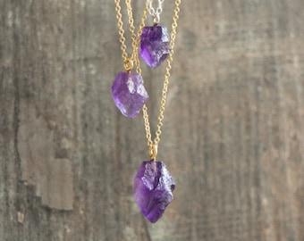 Raw Amethyst Necklace - February Birthstone