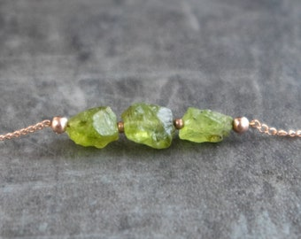 Raw Peridot Necklace - August Birthstone