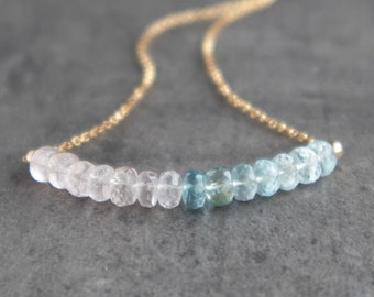 Aquamarine and Morganite Necklace - March Birthstone Necklace