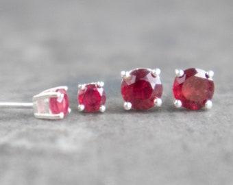 Ruby Silver Stud Earrings - July Birthstone