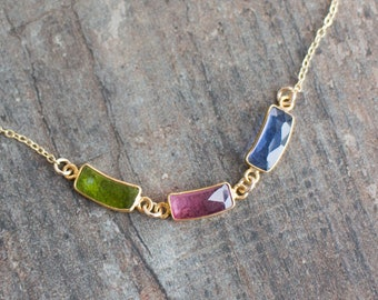 Custom Birthstone Link Necklace - Gift for Mum
