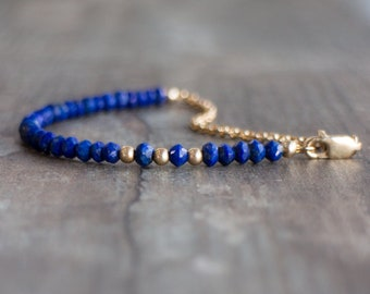 Lapis Lazuli Bracelet, Beaded Bracelet, Gemstone Bracelet,  Lapis Lazuli Jewelry, Delicate Bracelet, September Birthstone, Gold or Silver