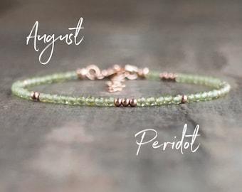 Dainty Peridot Bracelet - August Birthstone
