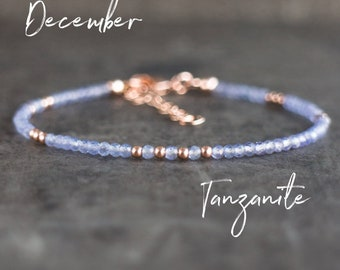 Skinny Tanzanite Bracelet - December Birthstone