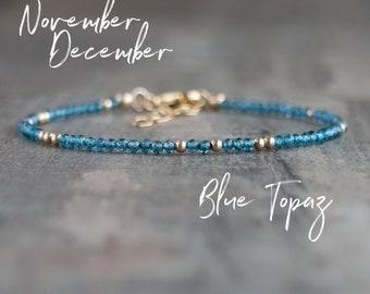 Skinny Blue Topaz Bracelet - November, December Birthstone