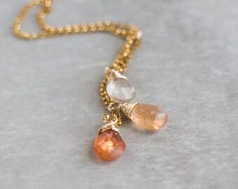 Ombre Sunstone Cascade Necklace