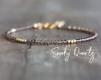 Smoky Quartz Bracelet, Skinny Bracelet, Smokey Quartz, Gemstone Jewelry, Wedding Gifts for Her, Delicate Bracelet, Layering Jewelry