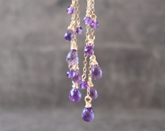 Long Amethyst Earrings - February Birthstone