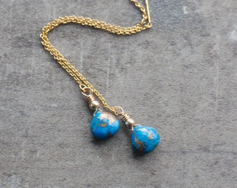 Copper Turquoise Ear Threaders - December Birthstone