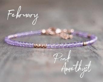 Pink Amethyst Bracelet - February Birthstone