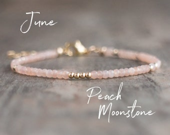 Peach Moonstone Bracelet - June Birthstone