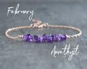 Raw Amethyst Bracelet, Amethyst Jewelry, February Birthstone Bracelet, Healing Amethyst Gemstone Bracelet Gifts for Women, Purple Bracelet