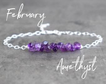 Raw Amethyst Bracelet - February Birthstone