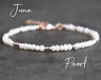 Skinny Pearl Bracelet -  June Birthstone