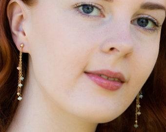 Fire Opal Dangle Earrings - October Birthstone
