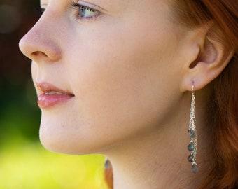 Long Labradorite Dangle Earrings