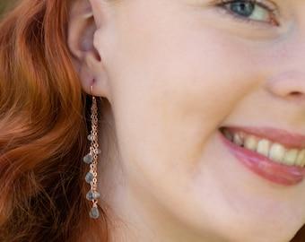 Aquamarine Long Dangle Earrings - March Birthstone