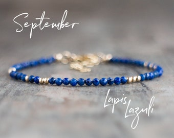 Dainty Lapis Lazuli Bracelet - September Birthstone