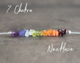 7 Chakra Necklace in Gold, Rose Gold Filled or Sterling Silver