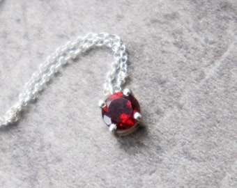 Garnet Solitaire Necklace - January Birthstone