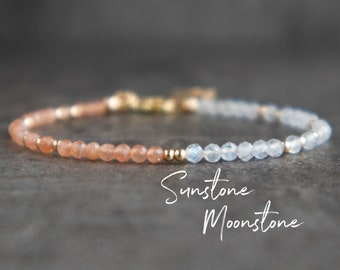 Sun and Moonstone Bracelet In Sterling Silver & Rose Gold Filled, Rainbow Moonstone and Sunstone Gemstone Bracelet, Gift for Her