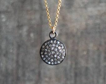 Pave Diamond Disc Necklace - April Birthstone