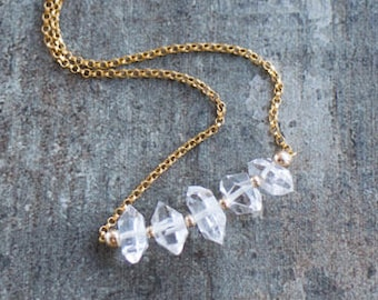 Herkimer Diamond Necklace, Herkimer Quartz Necklace, Bridal Necklace, April Birthstone Necklace, Gemstone Jewelry, Raw Diamond Necklace
