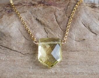 Lemon Quartz Crystal Necklace