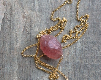 Raw Strawberry Quartz Necklace