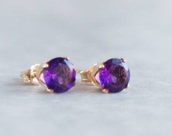 Amethyst Stud Earrings - February Birthstone