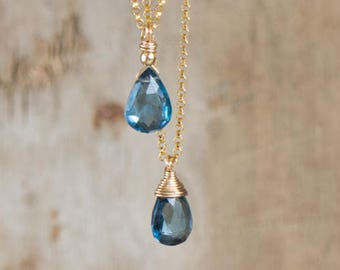 London Blue Topaz Necklace - November Birthstone