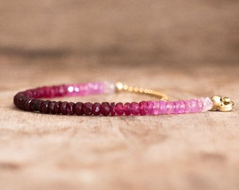 Ombre Ruby Bracelet - July Birthstone