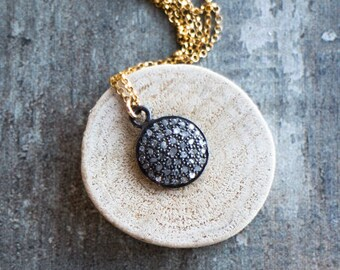 Pave Diamond Disc Necklace - April Birthstone