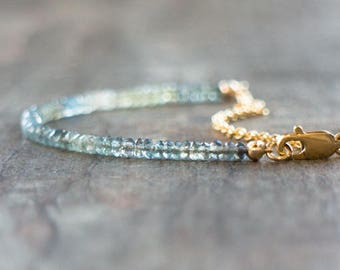 Aquamarine Bracelet, Moss Aquamarine Jewelry, Mom Gift for Her, Gemstone Bracelet, Ombre Jewelry, Dainty Bracelet, March Birthstone Bracelet