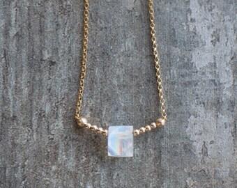 Tiny Moonstone Necklace