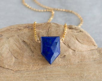 Geometric Lapis Lazuli Necklace - September Birthstone
