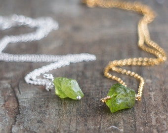 Tiny Raw Peridot Necklace -  August Birthstone