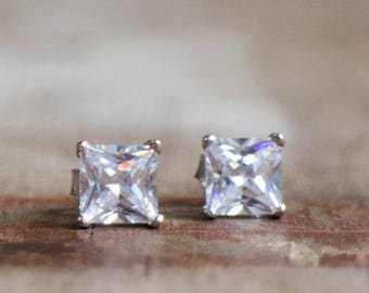CZ Diamond Square Stud Earrings