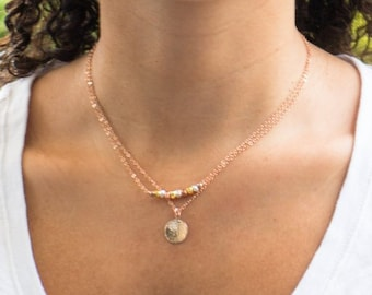 Rose Gold Hammered Disc Necklace, Gift for Girlfriend, Bridesmaid Gift, Minimalistic Jewelry, Simple Everyday Necklace