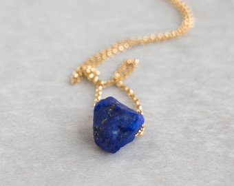 Raw Lapis Lazuli Necklace, Crystal Jewelry Gift for Her