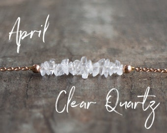 Raw Clear Quartz Necklace - April Birthstone