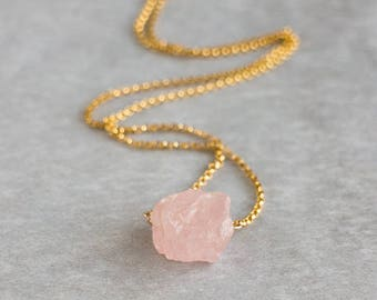 Morganite Necklace, Raw Crystal Necklace, Gift for Mum, Heart Chakra Necklace, Morganite Jewelry, Pink Emerald Necklace, Raw Stone Necklace