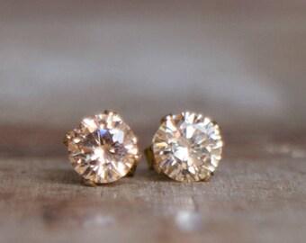 CZ Champagne Stud Earrings